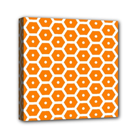 Golden Be Hive Pattern Mini Canvas 6  X 6