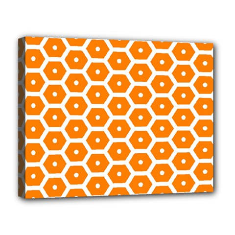Golden Be Hive Pattern Canvas 14  X 11