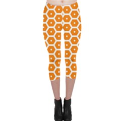 Golden Be Hive Pattern Capri Leggings