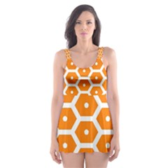 Golden Be Hive Pattern Skater Dress Swimsuit