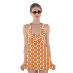 Golden Be Hive Pattern Halter Swimsuit Dress