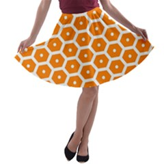 Golden Be Hive Pattern A Line Skater Skirt