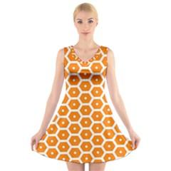 Golden Be Hive Pattern V-Neck Sleeveless Skater Dress