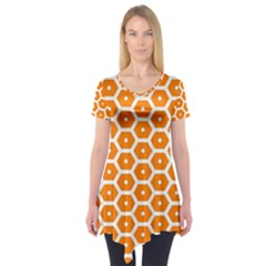 Golden Be Hive Pattern Short Sleeve Tunic