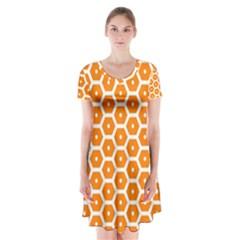 Golden Be Hive Pattern Short Sleeve V-neck Flare Dress