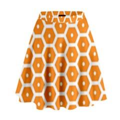 Golden Be Hive Pattern High Waist Skirt