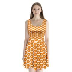 Golden Be Hive Pattern Split Back Mini Dress