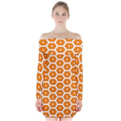 Golden Be Hive Pattern Long Sleeve Off Shoulder Dress