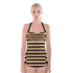 Golden Line Background Boyleg Halter Swimsuit
