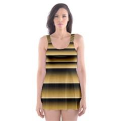 Golden Line Background Skater Dress Swimsuit