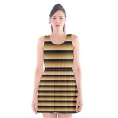 Golden Line Background Scoop Neck Skater Dress