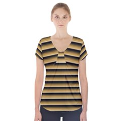 Golden Line Background Short Sleeve Front Detail Top