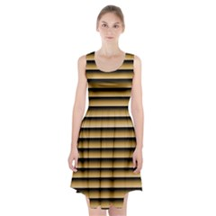Golden Line Background Racerback Midi Dress