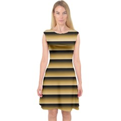 Golden Line Background Capsleeve Midi Dress