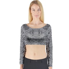 Gray Psychedelic Background Long Sleeve Crop Top