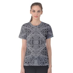 Gray Psychedelic Background Women s Cotton Tee