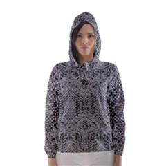 Gray Psychedelic Background Hooded Wind Breaker (women)