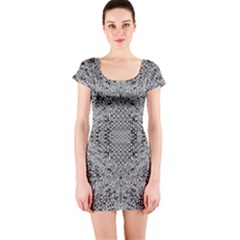 Gray Psychedelic Background Short Sleeve Bodycon Dress