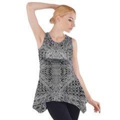Gray Psychedelic Background Side Drop Tank Tunic