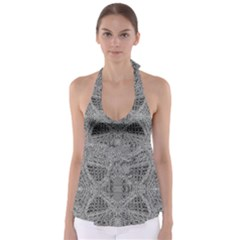 Gray Psychedelic Background Babydoll Tankini Top
