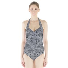 Gray Psychedelic Background Halter Swimsuit