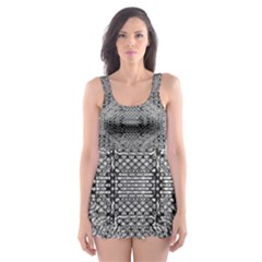 Gray Psychedelic Background Skater Dress Swimsuit