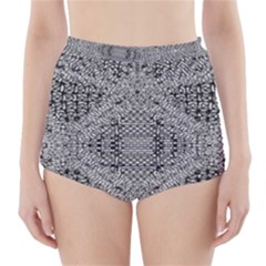 Gray Psychedelic Background High Waisted Bikini Bottoms