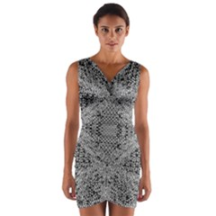 Gray Psychedelic Background Wrap Front Bodycon Dress