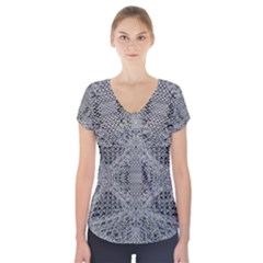 Gray Psychedelic Background Short Sleeve Front Detail Top