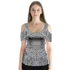 Gray Psychedelic Background Butterfly Sleeve Cutout Tee