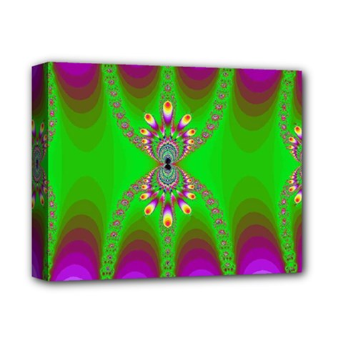 Green And Purple Fractal Deluxe Canvas 14  X 11
