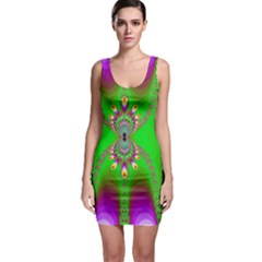 Green And Purple Fractal Sleeveless Bodycon Dress