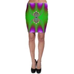 Green And Purple Fractal Bodycon Skirt