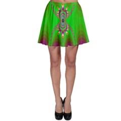 Green And Purple Fractal Skater Skirt