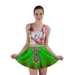 Green And Purple Fractal Mini Skirt