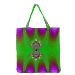Green And Purple Fractal Grocery Tote Bag