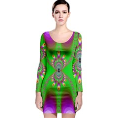 Green And Purple Fractal Long Sleeve Bodycon Dress