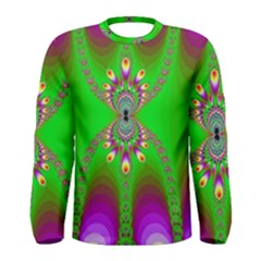 Green And Purple Fractal Men s Long Sleeve Tee