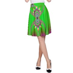 Green And Purple Fractal A Line Skirt