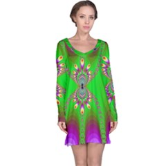 Green And Purple Fractal Long Sleeve Nightdress