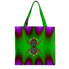 Green And Purple Fractal Zipper Grocery Tote Bag