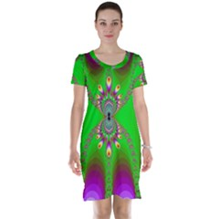 Green And Purple Fractal Short Sleeve Nightdress