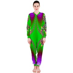 Green And Purple Fractal Onepiece Jumpsuit (ladies)