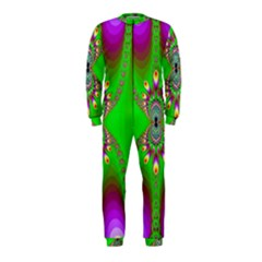 Green And Purple Fractal Onepiece Jumpsuit (kids)