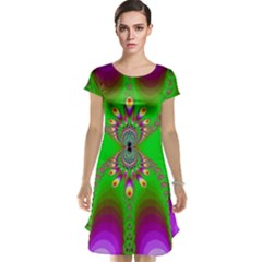 Green And Purple Fractal Cap Sleeve Nightdress