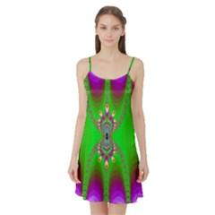 Green And Purple Fractal Satin Night Slip