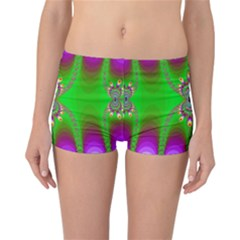 Green And Purple Fractal Reversible Bikini Bottoms