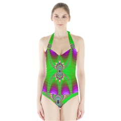 Green And Purple Fractal Halter Swimsuit