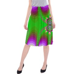 Green And Purple Fractal Midi Beach Skirt