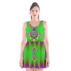 Green And Purple Fractal Scoop Neck Skater Dress